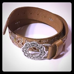 Lucky Brand leather embroidered belt.